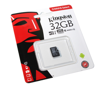 Карта памяти microSDHC UHS-I KINGSTON Canvas Select 32 ГБ, 80 МБ/с, Class 10, SDCS/32GBSP, 1 шт.
