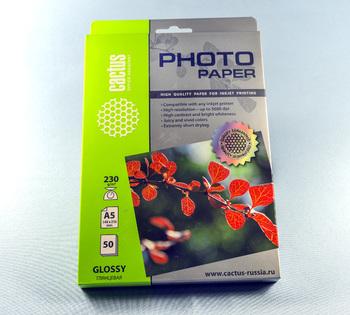 Фотобумага Cactus CS-GA523050A5/230г/м<sup>2</sup>/50л./белый глянцевое для струйной печати