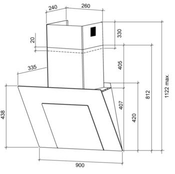Вытяжка каминная Shindo Remy 90B/BG 3ET черный управление: сенсорное (1 мотор)