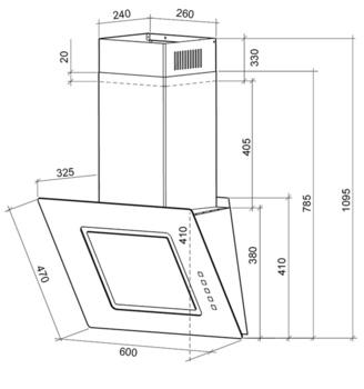 Вытяжка каминная Shindo TAO 60B/BG черный управление: кнопочное (1 мотор)