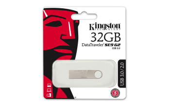 Флеш Диск Kingston 32Gb DataTraveler SE9 DTSE9G2/32GB-YAN USB3.0 серебристый