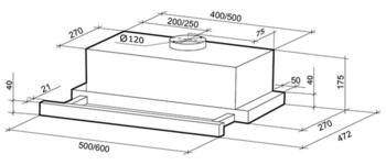 Вытяжка встраиваемая Shindo Maya 501M SS/BG нержавеющая сталь управление: кнопочное (1 мотор)