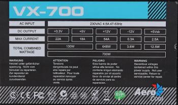 Блок питания AEROCOOL VX-700, 700Вт, 120мм, черный, retail