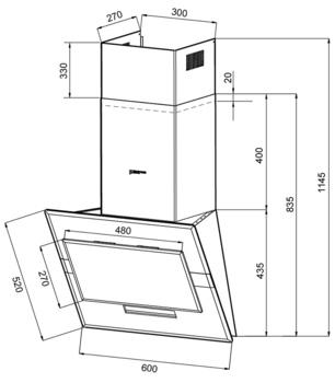 Вытяжка каминная Shindo Esperia 60SS/BG 3ETC черный/серебристый управление: сенсорное (1 мотор)