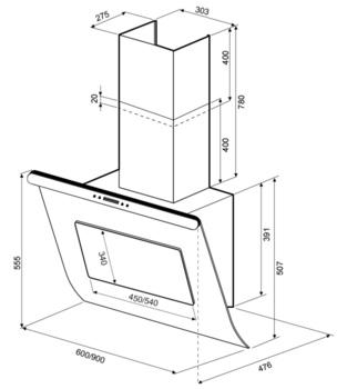 Вытяжка каминная Shindo Arktur 90B/BG 3ETC нержавеющая сталь/черное стекло управление: сенсорное (1