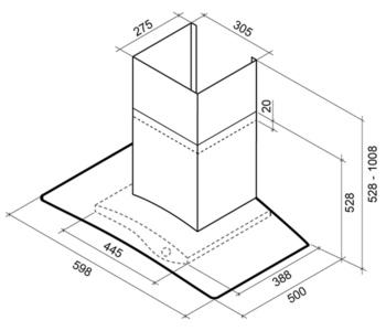 Вытяжка каминная Shindo Illusion 60B/BG черный/тонированное стекло управление: тактовое (1 мотор)
