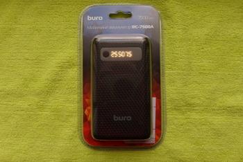 Внешний аккумулятор (Power Bank) BURO RC-7500A-B, 7500мAч, черный