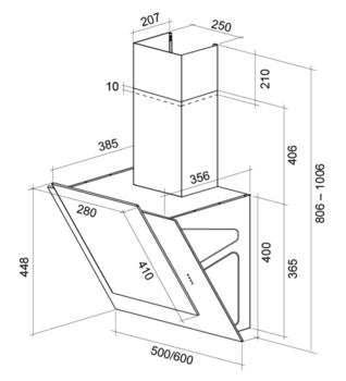 Вытяжка каминная Shindo Nori 60W/WG белый управление: сенсорное (1 мотор)