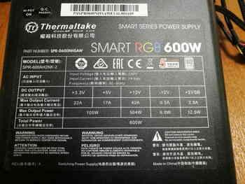 Блок питания THERMALTAKE Smart RGB 600, 600Вт, 120мм, черный, retail [ps-spr-0600nhsawe-1]