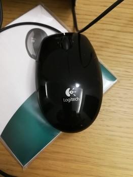Мышь LOGITECH LS1, лазерная, проводная, USB, черный и оранжевый [910-000864]