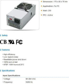 Блок питания FSP FSP250-60SNT, 250Вт, 80мм