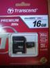 Карта памяти microSDHC UHS-I TRANSCEND 16 ГБ, 30 МБ/с, 200X, Class 10, TS16GUSDHC10,  1 шт., переходник SD вид 4