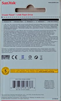 Флешка USB SANDISK Cruzer Facet 8Гб, USB2.0, красный [sdcz55-008g-b35r]