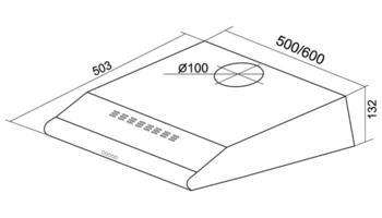 Вытяжка козырьковая Shindo Metida 50 белый управление: кнопочное (1 мотор)