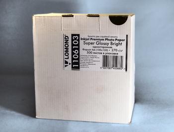 Фотобумага Lomond 110610310×15/270г/м<sup>2</sup>/500л./белый высокоглянцевое для струйной печати