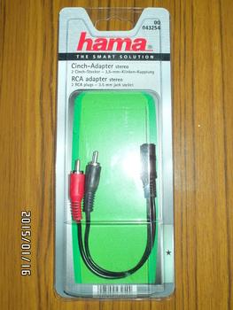 Адаптер аудио HAMA H-43254, 2хRCA (m)— Jack 3.5 (f) , черный [00043254]