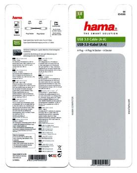 Кабель USB3.0HAMA H-54500, USB A(m)— USB A(m), 1.8м [00054500]