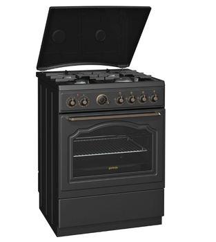 Газовая плита GORENJE K67CLB, электрическая духовка, антрацит