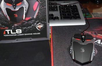 Мышь A4Bloody TL8Terminator лазерная проводная USB, черный и серебристый