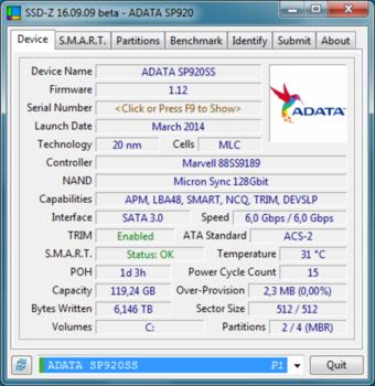 SSD накопитель A-DATA Premier Pro SP920ASP920SS3-128GM-C 128Гб, 2.5, SATA III