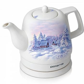 Чайник электрический POLARIS PWK1299CC, 1200Вт, белый с узором и зима
